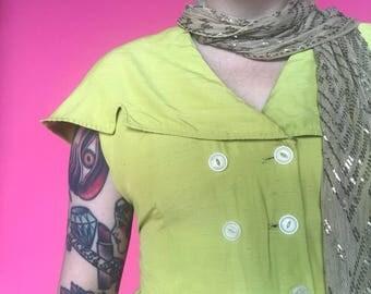 1950s Dress / 40s 50s Raw Silk Chatreuse Dress w/ High Low Hem / 1940s Day Dress
