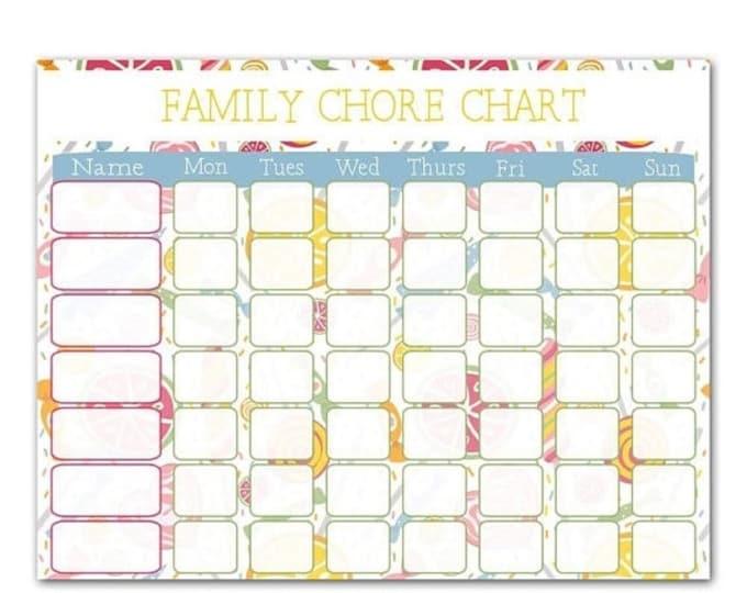 Sale Family Chore Chart - Digital Download - Instant Download - Printable Family Schedule - Chore Chart -Fridge Chart - Shabby chic
