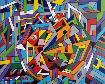 Cubist Painting, Abstract Painting, Modern Art, Contemporary Art, Energizing, Futuristic Painting