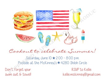 Summer Cookout Invitation- Cookout Party Invitation- Personalized -Digital File or Printed Invitation