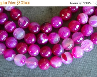 15% off SALE 8mm Hot Pink Agate, Gemstone Beads, Bright Pink, (10) Gemstone, Agate Beads 8mm Pink Stone Beads, Striped Agate Beads
