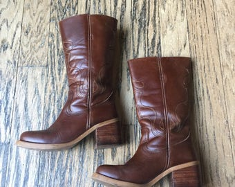 Vintage Leather Campus Stitched Boots, Size 6