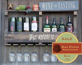 Wedding Gift, Inverted Wine Rack, Wall Wine Rack, Wood Wine Rack, Rustic Wine Rack, Shelf Wine Rack, Pallet Wine Rack, Liquor Shelf