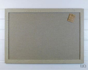 Extra Large Pinboard / Noticeboard with rustic linen backing and Country Grey chalk frame