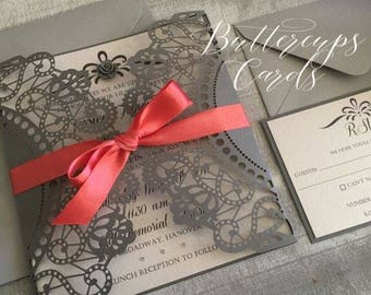Grey Wedding Invitations, laser cut invitations, grey and coral wedding, wedding invitation and rsvp, doiley wedding invitation,