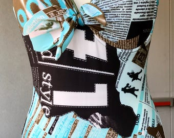 Swimsuit 1 piece woman vintage motifs shades turquoise, Khaki, black, white, stiff, very indented, frame size 40 or M