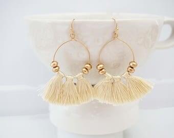 Cream and Gold Bead Tassel Hoop Earrings