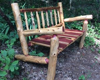 Free Shipping   4u0027 Rustic Log Adirondack Style Bench   Porch Bench   Cedar  Bench