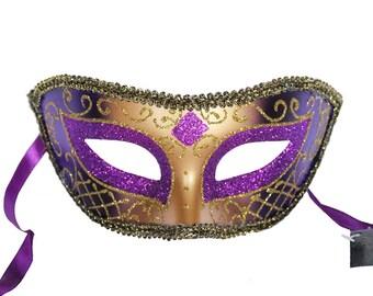 Purple Venetian Mask Masquerade Ball Prom Party Mardi Gras Halloween Costumes Wedding Decoration 4F7A, SKU 7K12