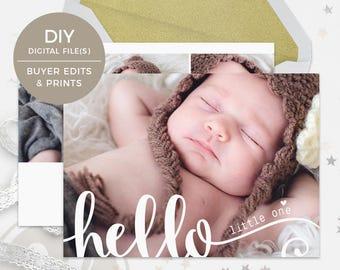 Birth Announcement Template - Hello Birth Announcement,  Baby Announcement, Photoshop Birth Announcement, New Baby Announcement