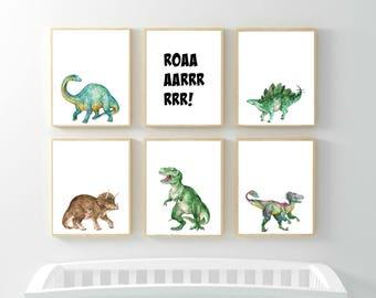 Dinosaur Nursery Decor, Nursery Wall Art, Dino Prints, Kids Wall Dinosaur Decor, Kids Room Roaaarrr dinosaur Set of 6