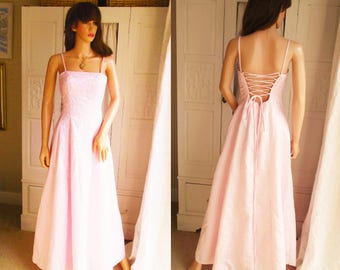 Unused Baby pink maxi dress 1950s style dress Pale pink Ballgown Pale pink chiffon dress  Evening gown  Party dress Pastel pink prom dress