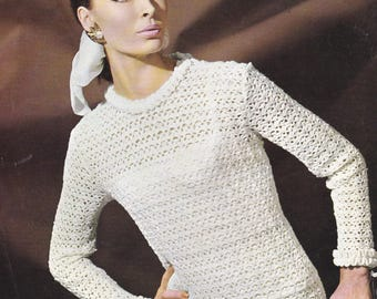 Womens crochet pullover sweater vintage crochet pattern INSTANT download pattern only frilly cuffs