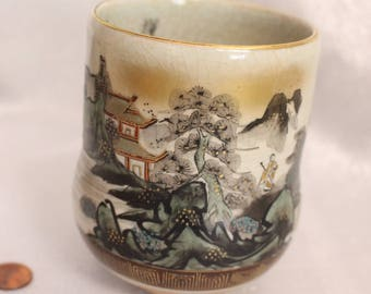 Vintage Japan Large Tea Cup Hand Painted design Mountains, House, Forest, Water Signed on the Bottom