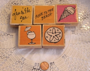 Summer Mix Lot of rubber Stamps Set of Five Wood Stamp for Scrapbooking or Card Making Altered Art