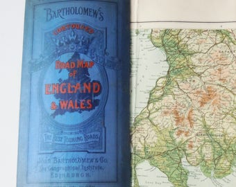Map of England and Wales / Vintage Touring Map mounted on linen / Beautiful Contour Map / Bartholomew's