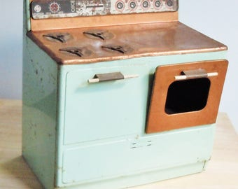 Toy Kitchen Stove /  Child's Toy from the 1960's / Green and Copper / Great Little Stove Decor in the Kitchen / Gabriel