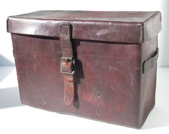 Leather Box / Large Old Workhorse of an Equipment Case Used in WW2 / Vintage Saddle Leather Bag