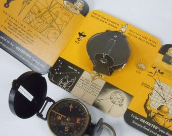 Military Compass Rare WW2 / W&L.E. Gurley / Most Interesting Cardboard Instructions for its use / Pop-up