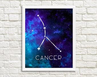 Cancer Constellation, Art Print, Watercolor, Blue, Aqua, Aquamarine, Night Sky, Space, Stars, and Horoscope, Digital File, Instant Download