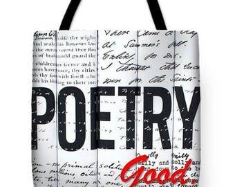 Poetry Good TOTE BAG (18X18), Poetry Tote, PoetryArt, Black and white tote bag, artist tote bag