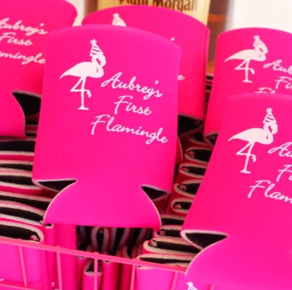 Flamingo birthday party koozies