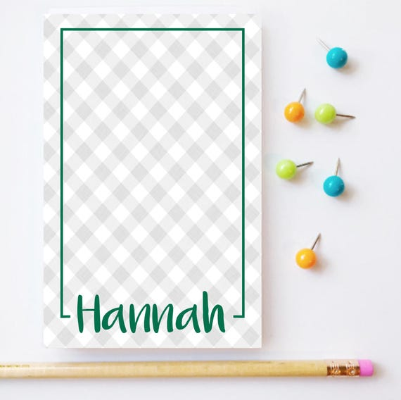 gingham notepad gingham personalized notepad gingham check pattern buffalo check notepads plaid notepad  personalized stationery custom pad