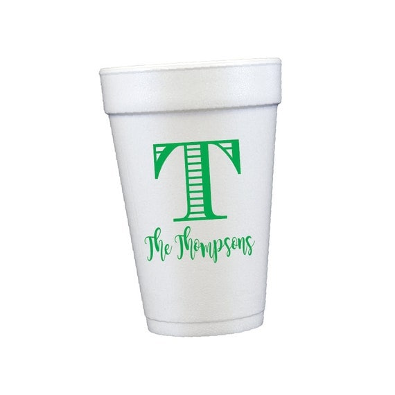 personalized cups foam cups styrofoam cups customizable cups wedding cups monogrammed cups custom party cups birthday beach cups pool cups