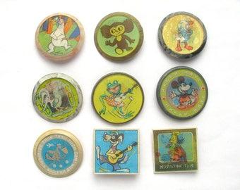 Cartoon characters, Soviet Stereo Badge, Pick from Set, Cheburashka, Bear, Cat, Vintage collectible badge, Pin, Animal, Made in USSR, 1970s