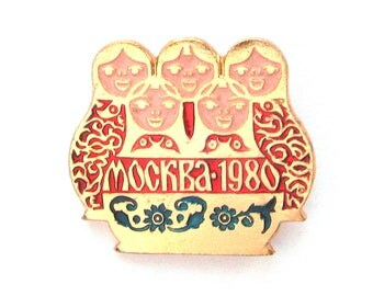 Olympic games sign, Moscow 80, Sport, Soviet  badge, Matryoshka doll, Vintage collectible badge, Soviet Vintage Pin, USSR, 1980s