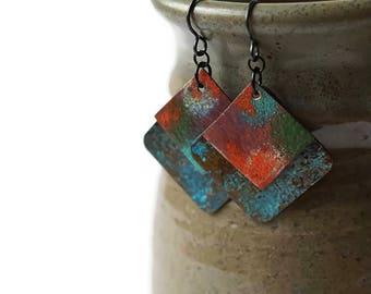 Colorful Earrings, Patina Earrings, Enameled Earrings, Turquoise Earrings, Geometric Earrings, Red Earrings, spring earrings