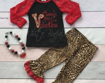 Mommy's Little Valentine outift with matching necklace headband.