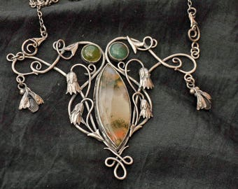 Avian Fish Silver; Art Nouveau Necklace with Moss Agate and Moonstone Moths