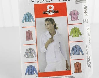 Classic Shirt Pattern with Sleeve Options, Uncut Sewing Pattern, McCalls 3541, Size 10-16