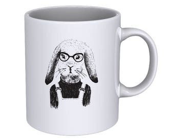 Hand drawn dressed up bunny girl - Cool Funny - Coffee Mug - Best Gift !!!