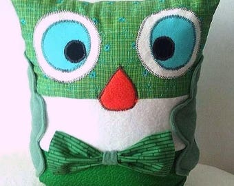 OWL plush toy, child, tonic, modern, fun, bright green, orange, blue