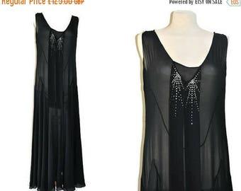 Summer Sale 1920's Black Flapper Dress // Antique Art Deco Evening Dress// Vintage Silk Chiffon Evening Dress with Rhinestone Detail// Size