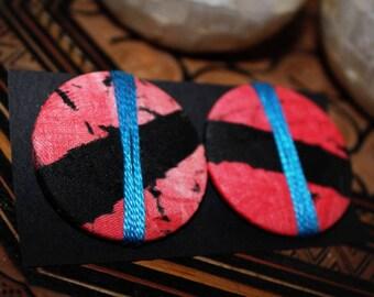 Earrings flea(chip) in African Batik fabric