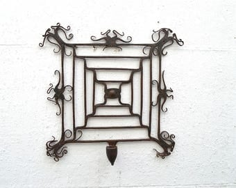 Beautiful original antique hand made wrought iron wall mounted candle sconce candle stick holder c.1860