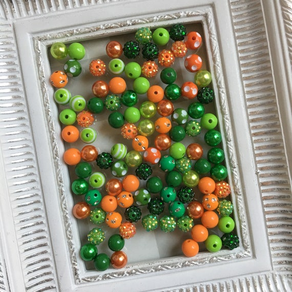 "12mm  ""Green & Orange ""  {100 count}  Chunky Bubble Gum Bead Wholesale Bulk Bead Lot for Necklaces or Bracelets"