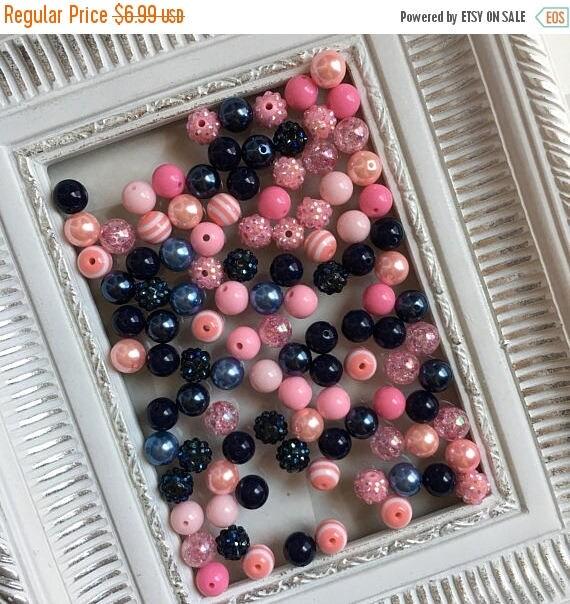 "SALE 12mm  ""Navy & Light Pink""  {100 count}  Chunky Bubble Gum Bead Wholesale Bulk Bead Lot for Necklaces or Bracelets"