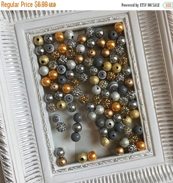 """SALE 12mm  """"Gold & Silver/Gray """"  {100 count}  Chunky Bubble Gum Bead Wholesale Bulk Bead Lot for Necklaces or Bracelets"""