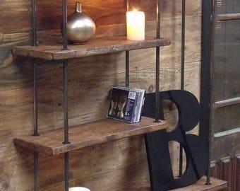 Biblioth que contemporaine sur mesure bois m tal for Petite etagere murale bois