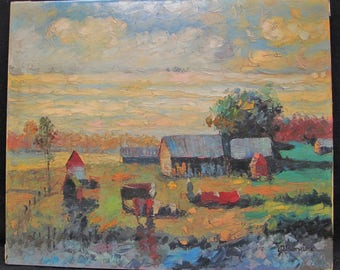 "Beautiful Antique Landscape Oil Painting by J. Devonshire titled ""Welcome Autumn"""