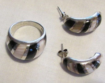 Sterling Silver Pink Mussel Shell and Jet Inlay Ring and Earrings Set