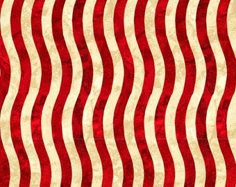 Red & Beige Wavy Stripe Fabric-Paintbrush Studio-Patriotic Fabric-Fourth of July Fabric-Flag Fabric-Red Stripe Quilt Fabric-Quilting Fabric