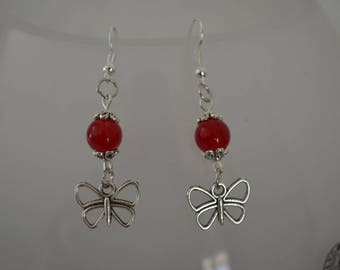 Butterfly and Red bead earrings