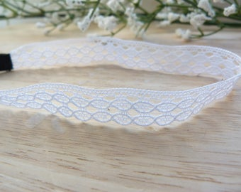 Romantic bridal headband - lace thin white or ivory colors