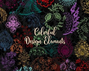 Colorful Design Elements Clipart - vintage antique ornamental clip art, png commercial use instant download ornament, lace gold graphics