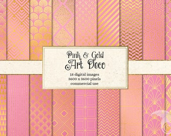 Pink and Gold Art Deco Digital Paper, deco patterns, geometric art deco printable scrapbook paper, digital instant download commercial use